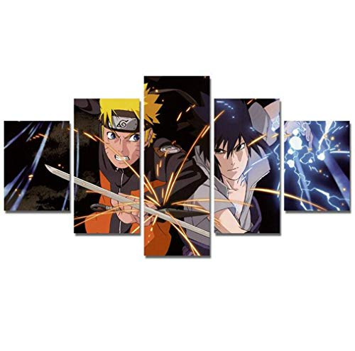 No Frame 5 Pieces Wall Art Prints Modular Poster for Living Room Home Decor Canvas Painting Sasuke Anime Pictures (Color C)