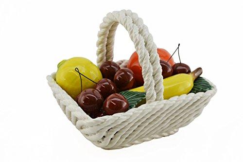 CAPODIMONTE Authentic Italian Rectangular Mini-Mix Fruit Display Basket, Multicolor