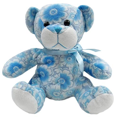 Goffa Floral Teddy Bear Stuffed Animal Plush, 10' (Blue)