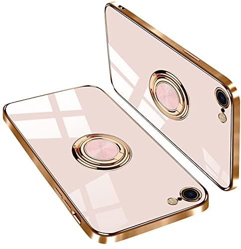 iPhone se ケース iPhone 7 ケース iPhone 8 ケース リング付き tpu スマホケース アイフォン 7/SE /8 ケース 薄型 軽量 傷つけ防止(iPhone7/SE/8ケース ライトピンク)