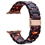 V-MORO Resin Strap Compatible with Apple Watch Band 38mm 40mm Series SE/6/5/4/3/2/1 Women Men with Stainless Steel Buckle, Apple Watch Replacement Wristband Strap(Tortoise-tone, 38mm/40mm)