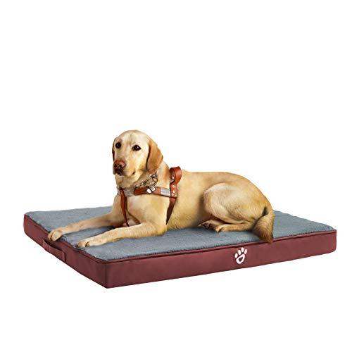 FRISTONE Orthopädisches Hundebett für Kleine Mittlere Große Hunde, Waschbar Hundematratze, Eierkistenform Schaum Hundekissen mit Abnehmbarem Bezug,XXL,Rot