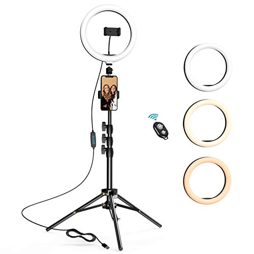10.2 inch Selfie Ring Light with Tripod Stand & 2 Phone Holders, LETSCOM Dimmable LED Beauty Camera Ringlight for Makeup/Photography/YouTube Videos/Vlog/TIK Tok/Live, Compatible with iPhone & Android