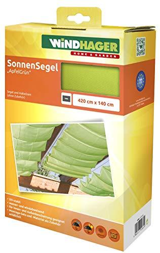 Windhager Sonnensegel für Seilspanntechnik, Wintergarten und Terrassen Beschattung, Seilspannmarkise, 420 x 140 cm, apfelgrün, 10882