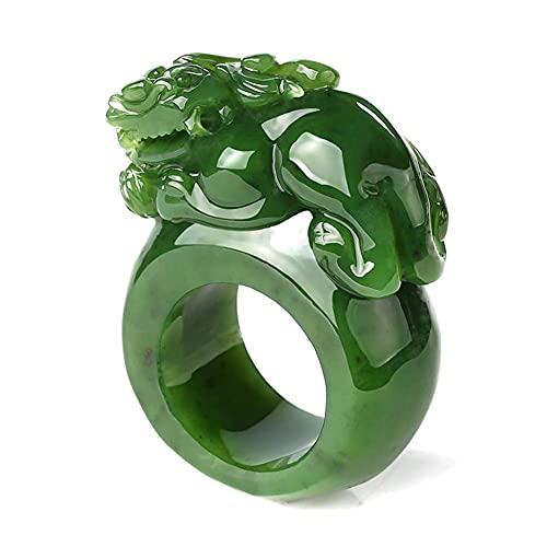FEEE-ZC Anillo de Esmeralda Verde de espinaca LY, Anillo de Hombre dominante de la Suerte de Jade, Anillos de Dedo, joyería