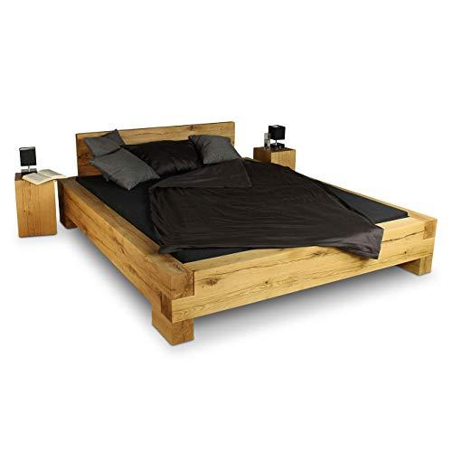 GREENHAUS Massivholzbett 180x200 cm Eiche massiv Holz Handarbeit und Massivholz aus Deutschland Balkenbett Vollholz Bett