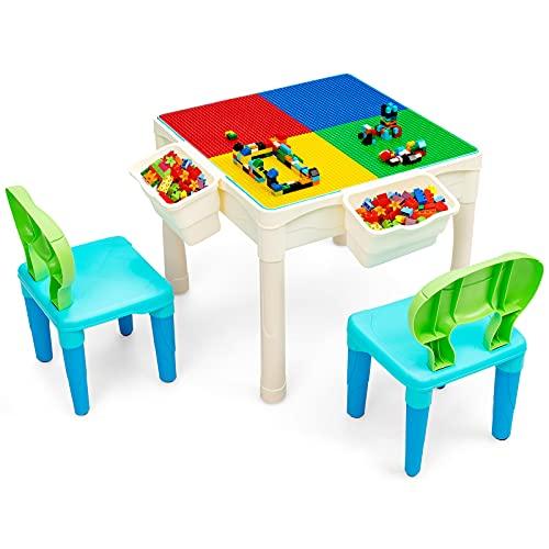 Goplus Tavolo da Gioco per Bambini, Tavolo Multi-attività con 2 Sedie e 2 Scatole, Contenitore e Costruzioni per l