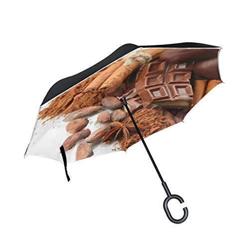 XiangHeFu Dubbellaagse omgekeerde omgekeerde ombrellas, specerijen, chocolade, snoepjes, winddicht, UV-bescherming, groot straight, voor auto, met C-vormige greep