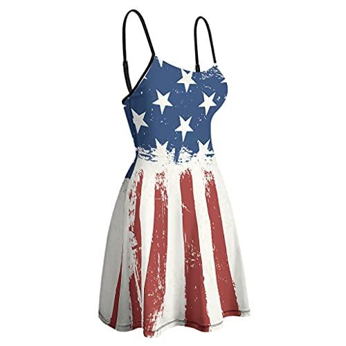 kikomia Vestido de mujer con tirantes finos, ajustable, bandera americana, estampado abstracto blanco L