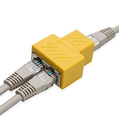 COVVY RJ45 Connettore Femmina Femmina Splitter Rete Adattatore 1-2 Donne Porto Cat 5   Gatto 6 LAN Cavo Ethernet Doppio Connettore Adattatore Socket (1Pcs, Yellow)