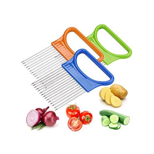 Guanghuansishe Slicer Zwiebelschneider,Gemuseschneider Maschine Shrendders Slicer, Tomate, Zwiebel Zitrone Gemüse Slicer Schnitthilfe Halterführung Slicing Cutter Sicher Gabel Küchen Gadget