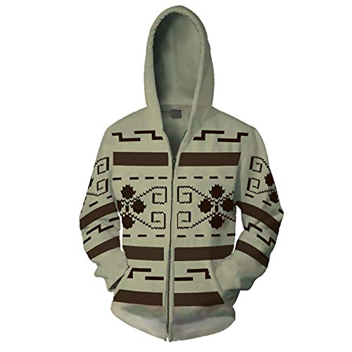 Gurbanton The Big Lebowski Jeffrey Hoodie The Dude Costume 3D Printed Zip Up Sweatshirt for Halloween Holiday Party (XXXL) Beige