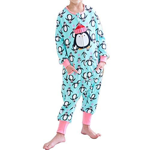 ZEBZOO Toddler Kids Wearable Blanket Sleeper with Feet Girls Sleeping Bag Cotton Double Layered Sack Penguin S