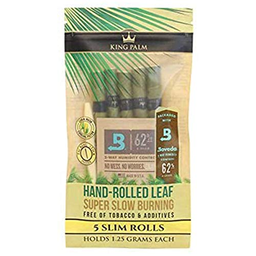 King Palm Slim Size Natural Pre Wrap Palm Leafs (1 Pack of 5, 5 Rolls Total) - Pre Rolled Cones - All Natural Cones - Corn Husk Filter - Preroll Cones - Prerolled Cones with Filter - Organic Cones