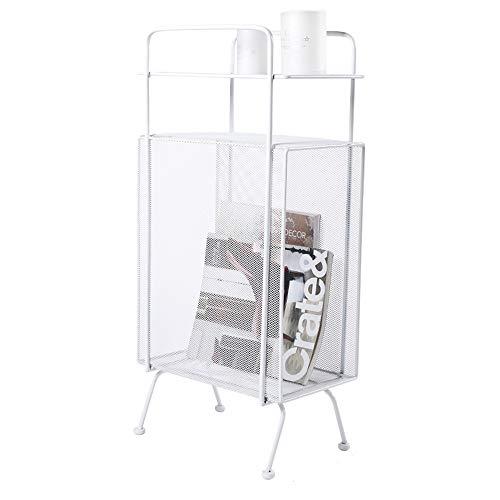YOTA HOME Hierro Forjado de Piso Librero, Dormitorio Mini Revistero, cabecera de Almacenamiento en Rack 34x20x70cm