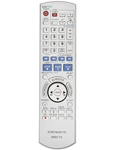 AIDITIYMI EUR7659Y70 Remote Control Replace for Panasonic DVD Recorder VCRDMR-ES45 DMR-ES46 DMR-ES45VS DMR-ES45V DMR-ES46V DMR-ES46VS DMR-ES35 DMR-ES25S DMR-ES25 DMR-ES36V DMR-ES35V