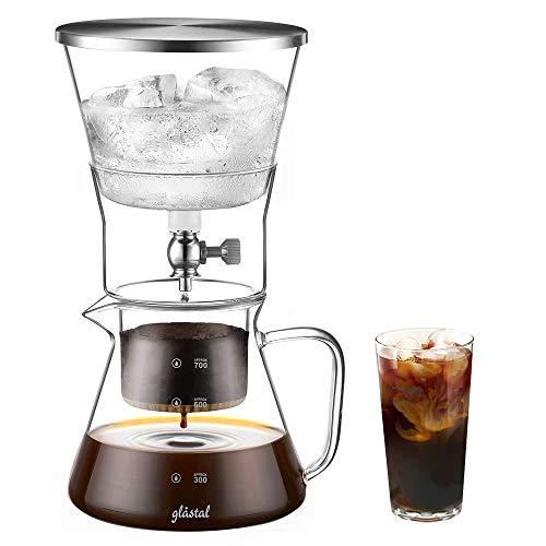 Glastal Cold Brew Dripper 600ml / 4 tazas Cafetera de goteo frío hecha de vidrio de borosilicato y acero inoxidable 18/8 Cafetera ajustable para café y té preparado en frío