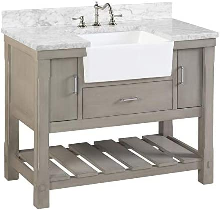 Amazon Com Charlotte 42 Inch Bathroom Vanity Carrara Weathered Gray Includes Weathered Gray Cabinet With Authentic Italian Carrara Marble Countertop And White Ceramic Farmhouse Apron Sink Everything Else