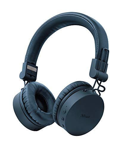 Trust Mobile Tones Auriculares Inalámbricos Bluetooth (Reproducción de 25 Horas, Rango de 10 m, Unidades de Altavoz de 40 mm, Diseño Plegable) Azul