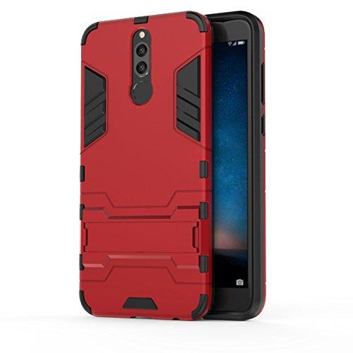 CHcase Huawei Mate 10 Lite Funda, 2in1 Armadura Combinación Heavy Duty Escudo Cáscara Dura PC + Suave TPU Silicona Case Cover con Soporte para Huawei Mate 10 Lite -Red