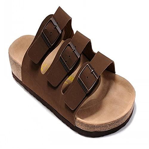 COQUI Slippers Mujer casa,Sandalias de Verano Zapatos de Madera Blanda Plana Zapatos de Playa para Hombres de Tres hileras Moda Casual sintonización en frío Zapatos de Mujer-marrón_36