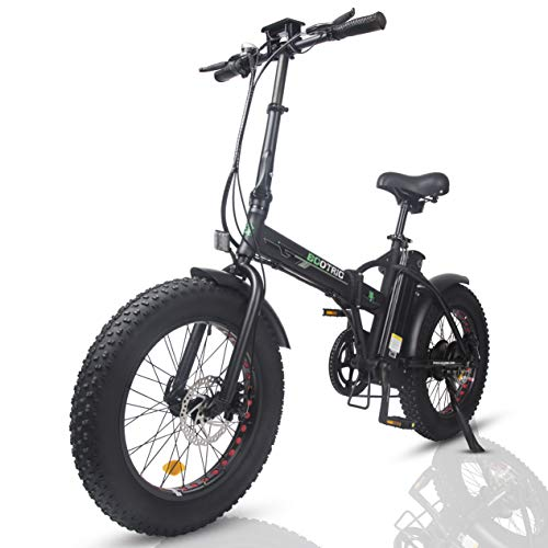 ECOTRIC Electric Fat Tire Powerful Foldable Bike Bicycle 48V 13AH Li-ion Battery 500W Motor 20' x4.0 inch Fat Tire Aluminum Frame Electric Mountain Beach Snow Ebike - (Black)