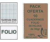 Cuadernos Reciclados Folio con Espiral Metálica Pack 10 Cuadernos de Papel Reciclado y 80 Hojas Cuadrícula 4mm Cuadernos...