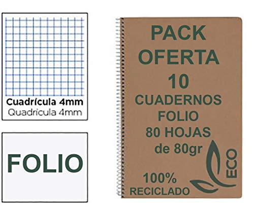 Cuadernos Reciclados Folio con Espiral Metálica Pack 10 Cuadernos de Papel Reciclado y 80 Hojas Cuadrícula 4mm Cuadernos Ecológicos de Hojas Recicladas Cuadernos A4 Folio A5 Eco