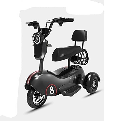 XINTONGSPP Triciclo eléctrico, Sencilla/biplaza/portátil Multifuncional cómodo y Resistente al Desgaste Mini Scooter eléctrico, Adulto Uso al Aire Libre/Necesidades diarias de la Oficina,Negro