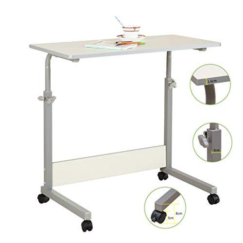 WEHOLY Klapptisch Rollsofa Beistelltisch Tragbarer Laptop-Computer Schreibtischständer mit Rädern, höhenverstellbarer Frühstücks-TV-Tablett-Nachttisch, Holz-Desktop mit Metallrahmen