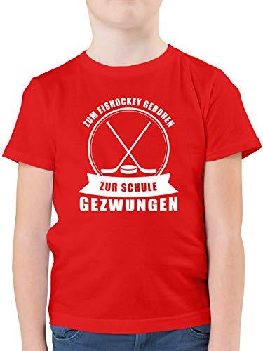 Sport Kind - Zum Eishockey geboren. Zur Schule gezwungen - 140 (9/11 Jahre) - Rot - Eishockey Shirt Jungen - F130K - Kinder Tshirts und T-Shirt für Jungen