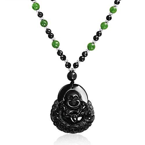 Bling Jewelry Grün Schwarz Bead Geschnitzten Lange Große Lachen Obsidian Mode Statement Buddha Anhänger Halskette Für Damen