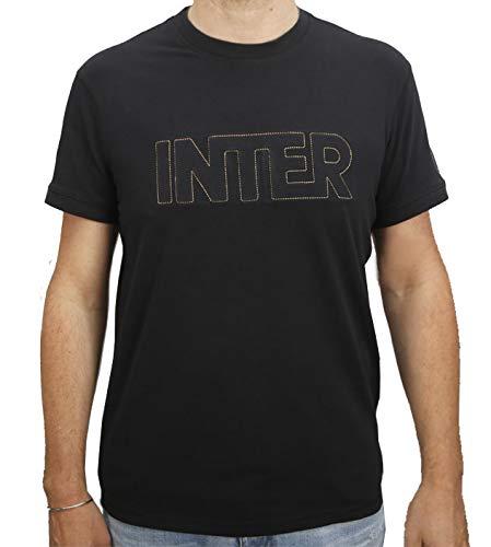 Inter T-Shirt Uomo Girocollo Manica Corta in Jersey, Nero, XL