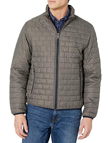 Tommy Hilfiger Men's Ultra Loft Sweaterweight Quilted Packable Jacket, Heather Grey, Medium