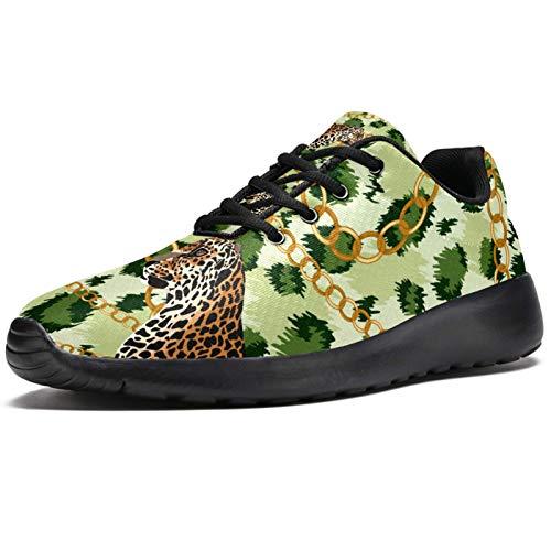 Sport-Laufschuhe für Damen, drei Leoparden, goldfarbene Kette, grüne Tigerhaut, modische Sneakers, Netzstoff, atmungsaktiv, Wandern, Tennisschuh, - mehrfarbig - Größe: 40.5 EU