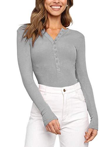 Women's V Neck Long Sleeve Button Down Henley Shirt Ribbed Knit Stretchy Leotards Bodysuits Tops Light Grey Medium