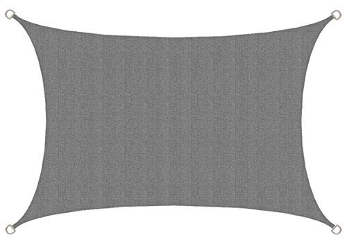 AMANKA UV Sonnensegel - 3x2 m HDPE Rechteckig - Sonnenschutz Plane Überdachung Garten Balkon Grau