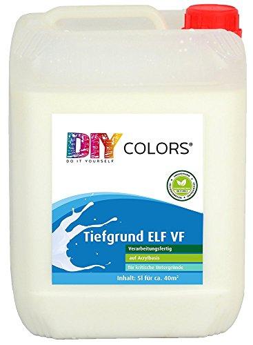 DIY Colors Tiefgrund ELF VF 5l (Größe wählbar) - Acryl Tiefengrund, verarbeitungsfertig, innen und außen, Haftgrund, hochwertige Spezial-Grundierung in Maler- und Handwerkerqualität, Haftbrücke