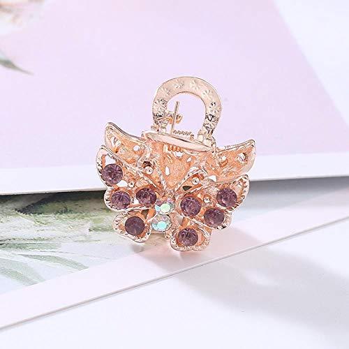 Strass Petit Clip Japonais Petit Frais Alliage Filles Collège Vent Papillon Petite Rose Couleur Bangs Clip Pour Les Femmes (2 Pack), Violet