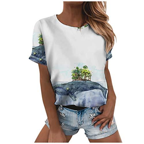 Blusa de verano para mujer con impresión de elementos marinos, camiseta de manga corta para mujer, cuello redondo, elegante, Blanco C, L