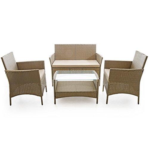 VERDELOOK Set Caprera, Salon d'extérieur composé de canapé 2 places, 2 fauteuils, une table, taupe