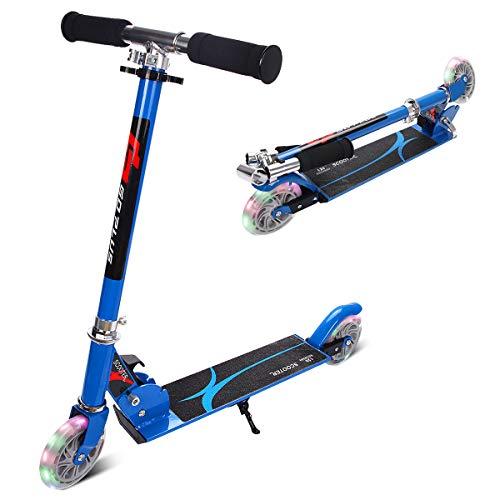 GOPLUS Kinder Roller Scooter klappbar Tret Roller Cityroller Kickscooter mit LED Räder Ständer ab 4 Jahre bis 70 kg (blau)