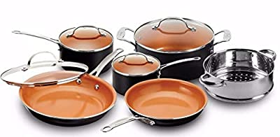 Gotham Steel Pots and Pans 10 Piece Cookware Set with Nonstick Ceramic Coating by Chef Daniel Green ? Graphite, Fry, Stock Steamer Insert