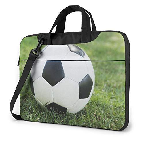 Soccer Ball On Grassy Laptop Bag Briefcase Shoulder Mesenger Bag for Women Men 14 Inch