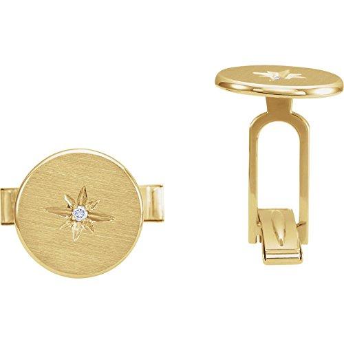 Herren-Manschettenknöpfe, 0,03 Karat Diamant, Sternenform, inklusive Schmuckgeschenk