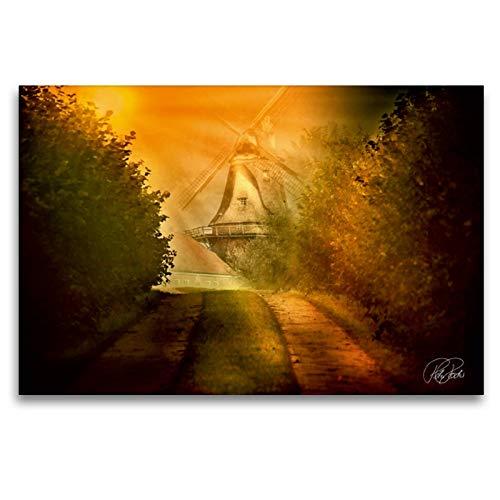 Premium textiel canvas 120 cm x 80 cm dwars, een molen in zonsopgang | muurschildering, afbeelding op spieraam, afgewerkt beeld op echt canvas. van Peter Rof (CALVENDO Natur);CALVENDO Natuur