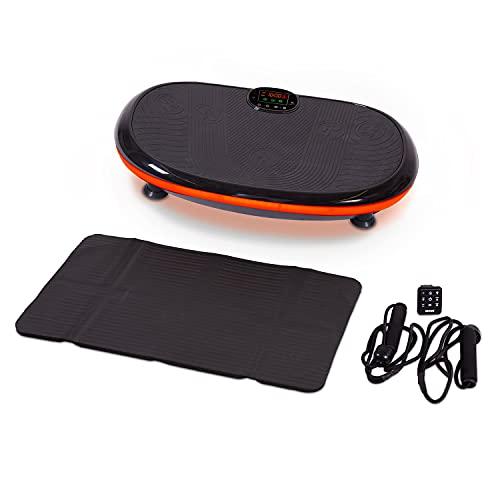 aktivshop Vibrationsplatte 4D Curved Design LED, große Standfläche, leise & stark, inkl. Expanderbändern, Bodenschutzmatte, Remote-Watch, Massage, Muskelaufbau & Ganzkörpertraining zuhause