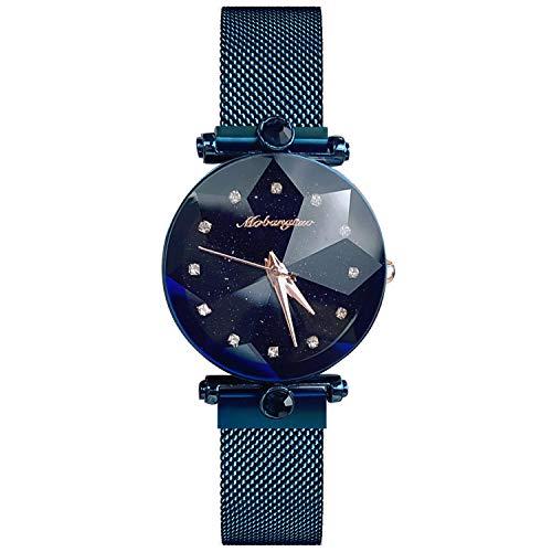 RORIOS Damen Uhren Analog Quarz Armbanduhren Sternenklarer Himmel Edelstahl Mesh Band Armbanduhr Mode Strass Uhren für Frauen Mädchen
