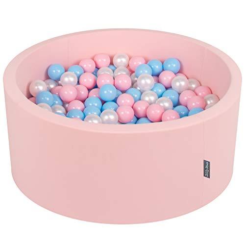 KiddyMoon 90X40cm/300 Balles ∅ 7Cm Piscine À Balles pour Bébé Rond Fabriqué en UE, Rose:Baby Bleu/Rose Poudre/Perle