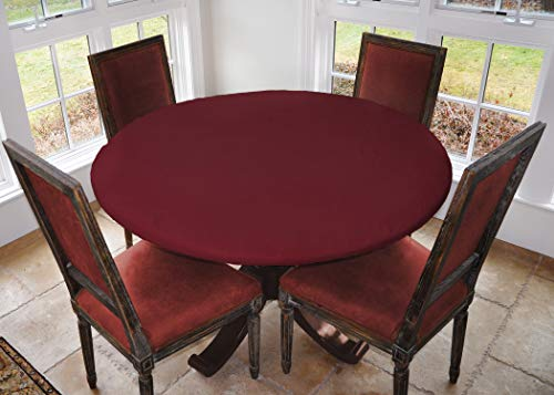 Covers For The Home Deluxe Elastic Edged Flannel Backed Vinyl Fitted Table Cover - Basketweave (Red) Pattern - Large Round - Fits Tables up to 45' - 56' Diameter